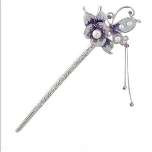 Accessories - Enamel Painted💜Pearl Rhinestone HairStick 6""